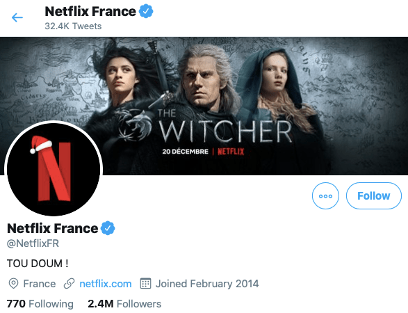 Netflix France, compte officiel
