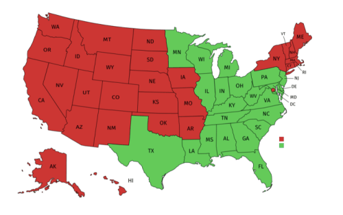 In red: 1st, 2nd, 8th, 9th, 10th and D.C. (proof of intention is required) / In green: 3rd, 4th, 5th, 6th, 7th and 11th circuits (proof of intention is not required)