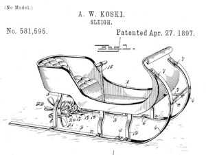 """Fig. 1 of U.S. Patent No. 581,595, simply titled """"Sleigh""""."""