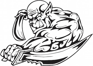 Patent troll wielding swords