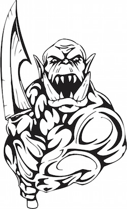 Patent troll with sword.