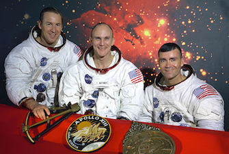 Original crew photo. Left to right: Lovell, Mattingly, Haise