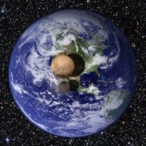 Pluto and Charon's relative sizes to Earth. Public domain (NASA).