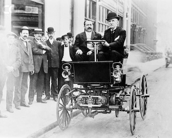 George Selden driving an automobile circa 1905.