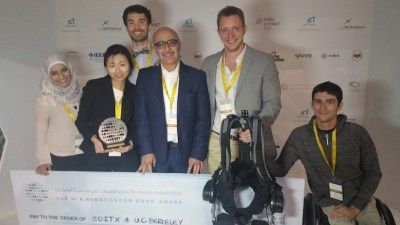 The suitX team that was victorious in the robotics challenge. From left to right: Yara Najdi, Yoon Jeong, Michael McKinley (back), Dr. Homayoon Kazerooni, Brad Perry, Steve Sanchez.