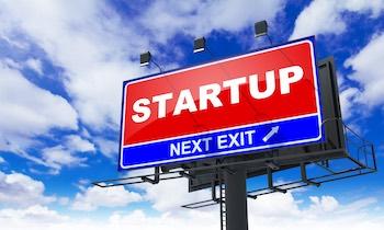 Startup - Red Billboard on Sky Background.