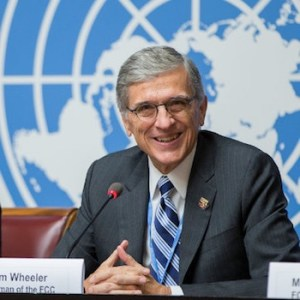 """FCC Chairman Tom Wheeler at WRC-15 Media Briefing"" by United States Mission Geneva. Licensed under CC BY-ND 2.0."