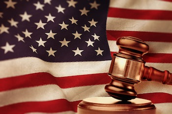 American flag with gavel