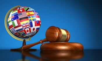 World flags gavel.
