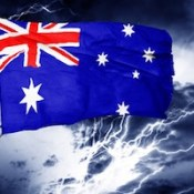 Australian flag. Crisis. Lightening.