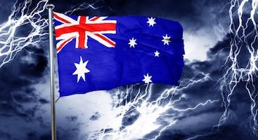 Australian flag. Crisis. Lightening.