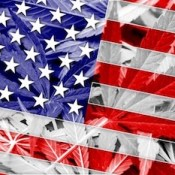 USA Flag on cannabis background.