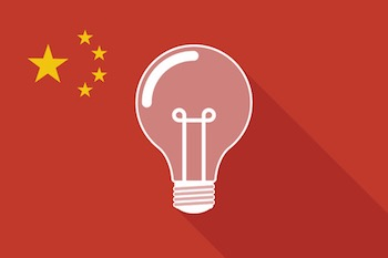 illustration of a china long shadow flag with a light bulb