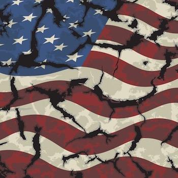 American flag torn
