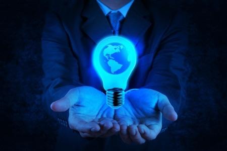 Businessman lightbulb hands