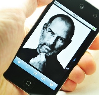 Steve Jobs depicted on an iPod.