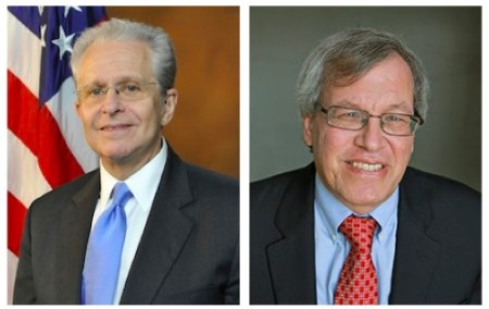 Laurence Tribe (left), Erwin Chemerinsky (right).
