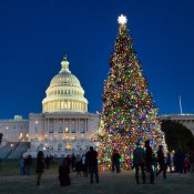 The United States Capitol with the Christmas tree in front of it surrounded by people during the night