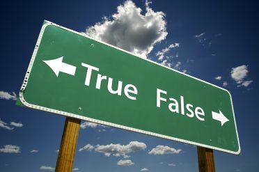 Senators Bayh and Dole - https://depositphotos.com/2329862/stock-photo-true-false-road-sign-with.html
