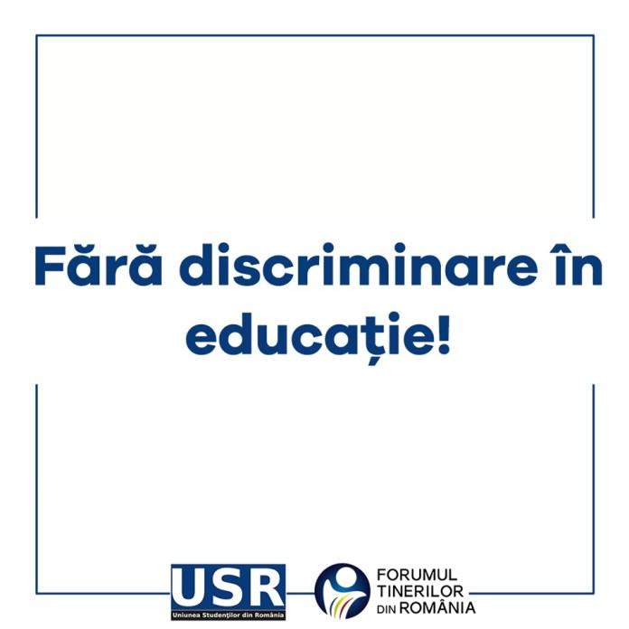 Fără discriminare în educație