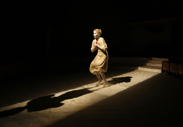 Ukrainian actress Melkonyan performs in White Sea by the rubberbodies theatre collective at St James Cavalier Centre for Creativity in Valletta