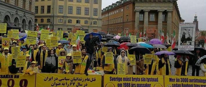 Stor demonstration i Stockholm mot avrättningar i Iran