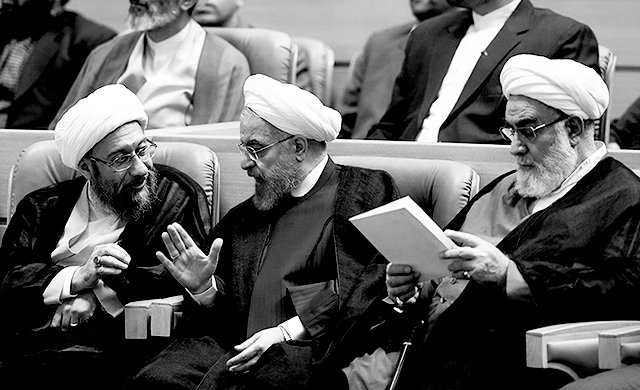 "The Supreme Leader's chief of staff Mohammadi Golpayegani (right): ""Opposing the Islamic [Republic] is certainly the greatest wrong and if anyone, in any cloth or position, opposes it, he has committed the worst vice because the pure blood of thousands of youth has been shed to establish this state."""