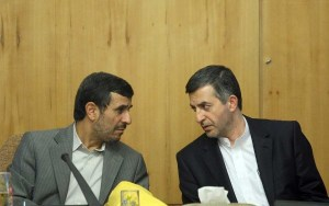 President Mahmoud Ahmadinejad talks with Rahim Mashaee during a meeting of Cabinet. (Photo Credit: Dolat.ir)