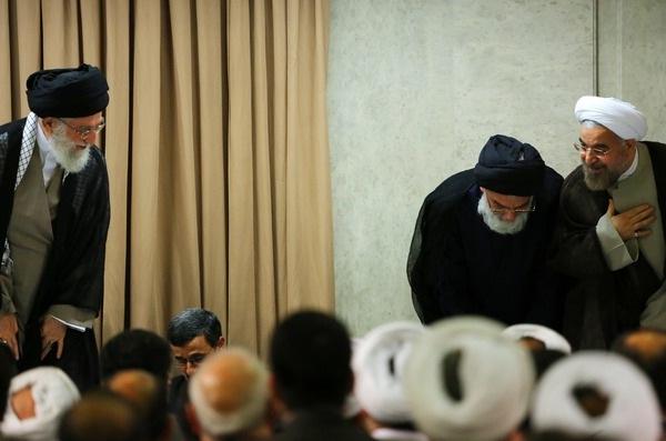 Iran's supreme leader Ayatollah Khamenei greets the president elect Hassan Rowhani during a meeting on July 21,2013. (Photo Credit: Khamenei.ir)