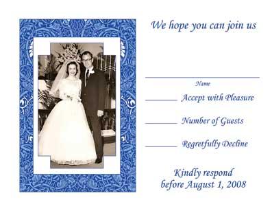 Sapphire Anniversary Invitation Text Inside Card Response