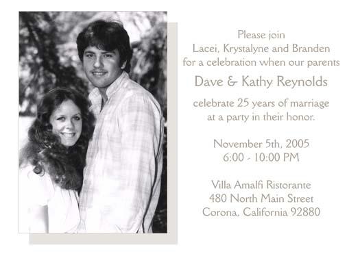 Twenty Fifth Wedding Anniversary Party Invitation 25th