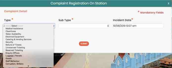 Rail MADAD : Complaint Registration on Station