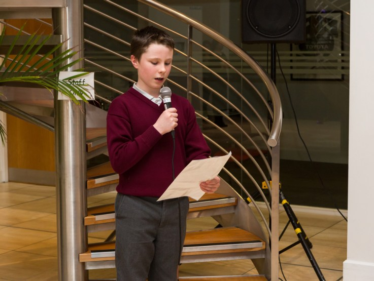Paddy Duggan reading his winning Flash Fiction entry at Songs & Stories