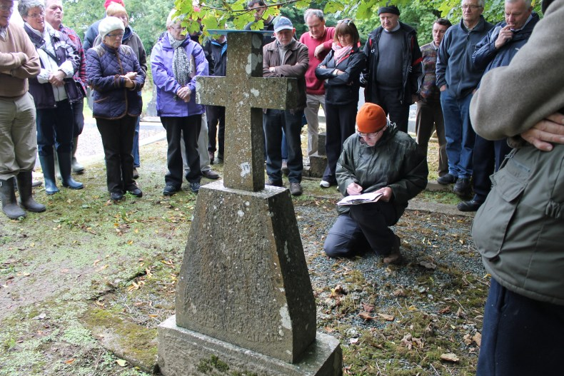 John Tierney of Eachtra Archaeological Projects demonstrating to interested communities how to care, record and survey Duhallow's Historic Graves