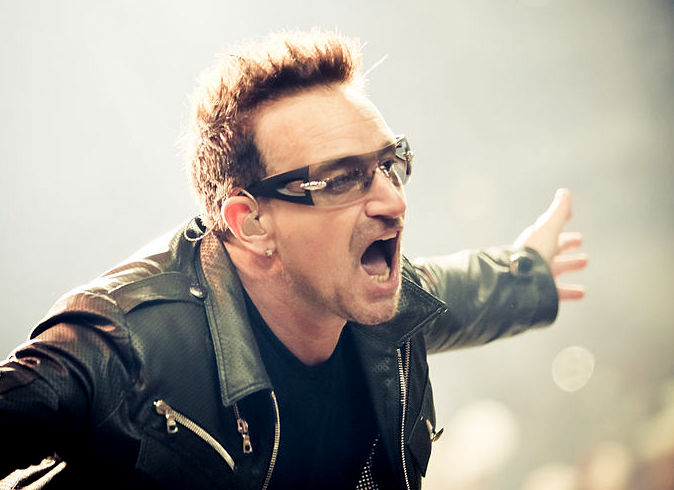 Bono from U2 representing the Irish music culture