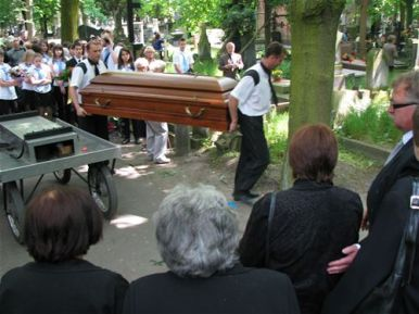 Irena Sendler is laid to rest on May 15, 2008, in Warsaw, Poland.