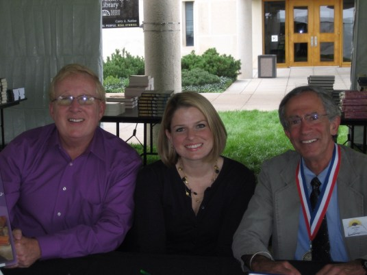 Life in a Jar/the Irena Sendler Project book signing at the Kansas Book Festival in Topeka. From left to right, Norm Conard, teacher of the project, Jaime Berndt, one of the cast members, and Jack Mayer, the award winning author.