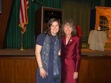 Cast member Megan (Stewart) Felt and Milken Family Foundation Vice President, Dr. Jane Foley, at Temple Sinai.