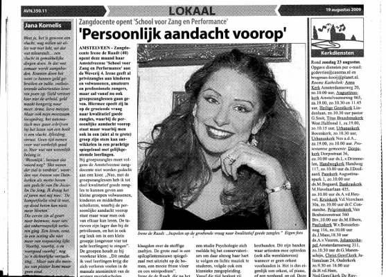 Amstelveens nieuwsblad : artikel over mijn optredens en zang- en pianolessen