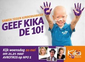 Samen tegen kinderkanker, geef KiKa de 10! Kijk woensdag 20 mei om 21.25 naar AVROTROS op NPO1 – kika.nl