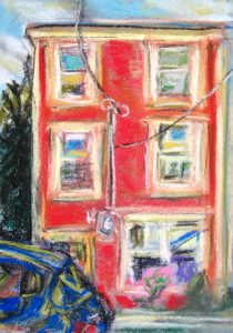 original pastel art, the house across the street