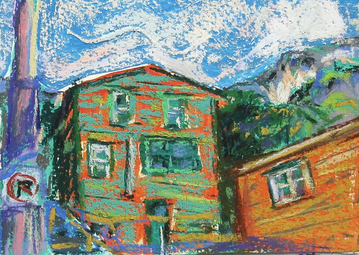 Pastel painting of a house in the Battery, St. John's