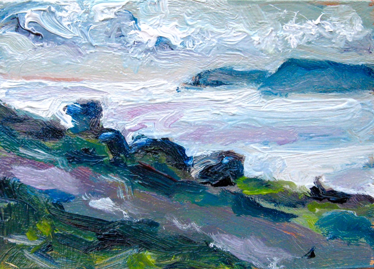 tiny oil painting of view from Signal Hill