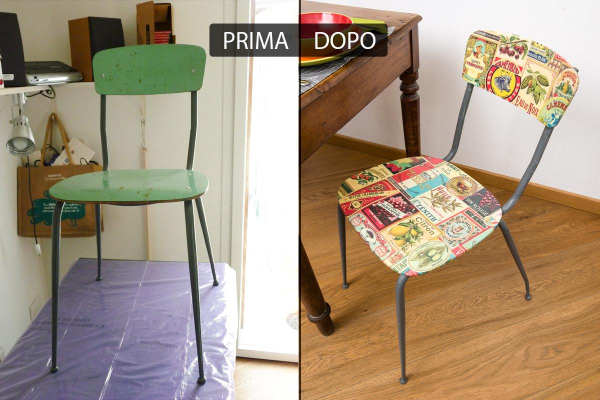 4 sedie in legno e tessuto set 4 sedie vintage anni '60. Galleria