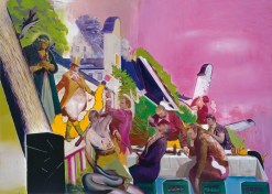 Neo Rauch (German, b. 1960): Die Vorführung, 2006. Oil on canvas, 300 x 420 cm. Rubell Family Collection. Photo: Uwe Walter, Courtesy Galerie Eigen + Art Berlin and David Zwirner, New York. © Neo Rauch. © VG Bild-Kunst, Bonn. © This artwork may be protected by copyright. It is posted on the site in accordance with fair use principles.