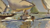 Joaquin Sorolla (Valencian Spanish, Impressionism, 1863-1923): Boats on the Shore (Barcas en la playa), 1909. Oil on canvas, 56 x 94 cm (22 x 37 inches). Private Collection.