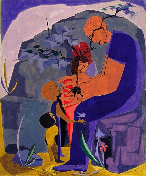 """Jacob Lawrence (American, Modernism, 1917-2000): """"Men exist for the sake of one another. Teach them then or bear with them."""" — Marcus Aurelius Antoninus, Meditations, VIII:59. From the series Great Ideas of Western Man; 1958."""