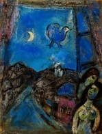 Marc Chagall (French, born Russia — present-day Belarus; 1887-1985): Evening at the Window, 1950. Oil on canvas. Sammlung Rosengart Art Museum, Lucerne, Switzerland. © This artwork may be protected by copyright. It is posted on the site in accordance with fair use principles.