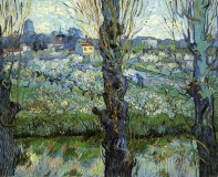 Vincent van Gogh (Dutch, Post-Impressionism, 1853-1890): Orchard in Bloom with Poplars, 1889.