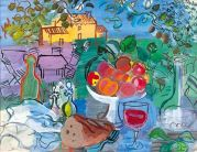 Raoul Dufy (French; Fauvism, 1877-1953): Still Life Before the Yellow House (Nature morte devant la maison jaune).